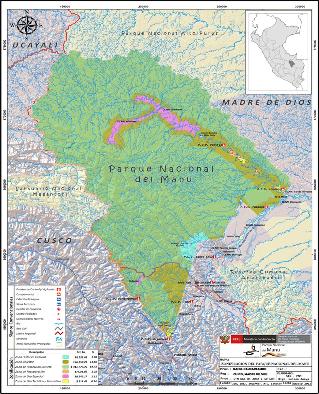 Manu National Park Map Map of Manu National Park